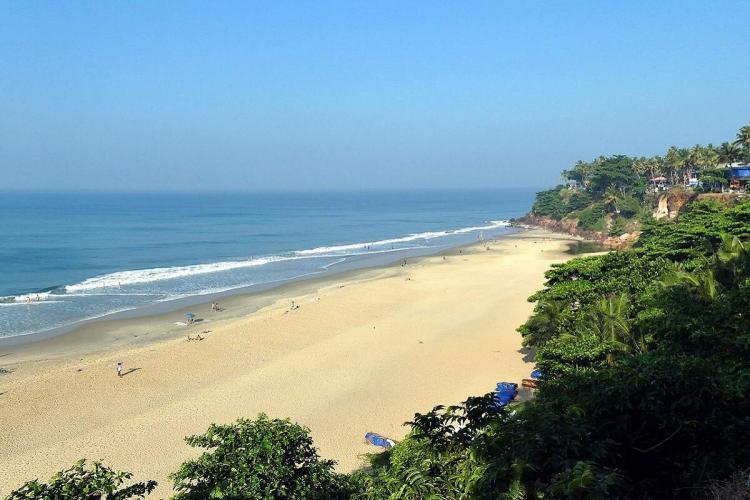 The Varkala beach in Kerala on a sunny day