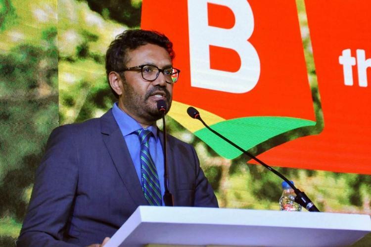 Britannia MD Varun Berry speaking at an event in Kolkata in August 2018