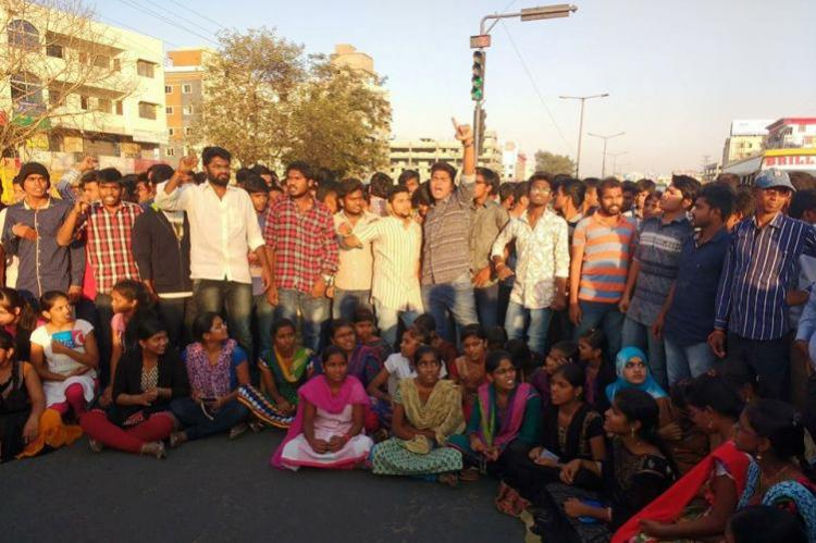 Students protest at Hyderabad junior college allege that principal stole fees money