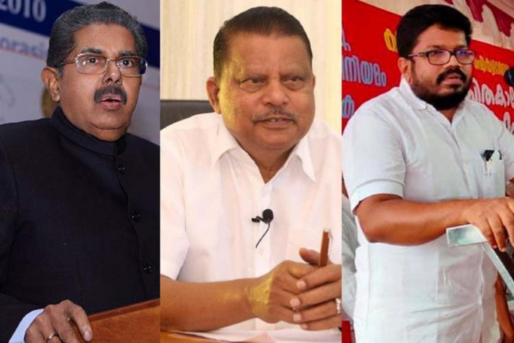Collage of three politicians with Vayalar Ravi in a black suit on the left Abdul Vahab in white shirt in the middle and Ragesh stands before a microphone wearing white