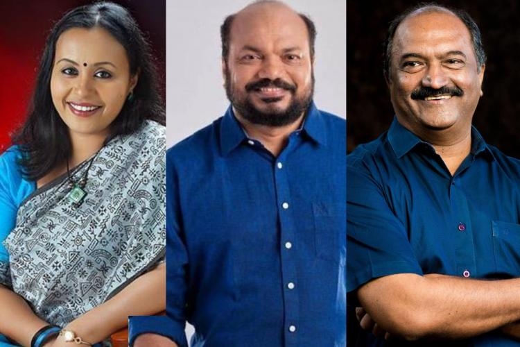 Collage of Veena George, P Rajeev and KN Balagopal