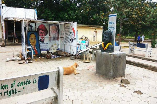Rohith Vemulas bust in UoH campus vandalized students point fingers at VC