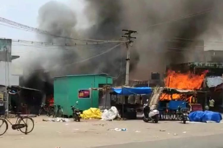 Visuals of the cracker shop burning in Vellore