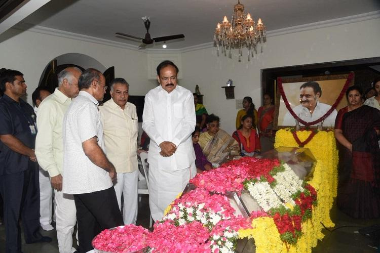He was affable and frank VP Venkaiah Naidu pays last respects to Harikrishna