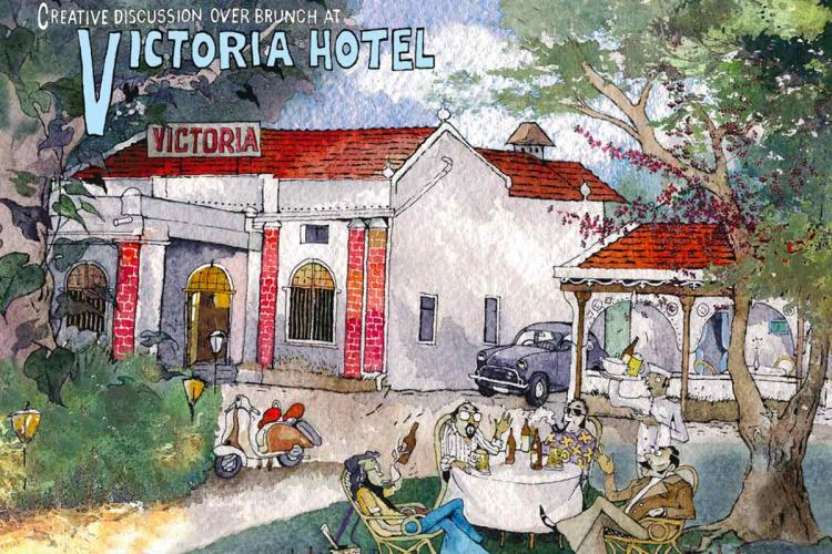 An illustration of Bengalurus Victoria Hotel made by artist Paul Fernandes