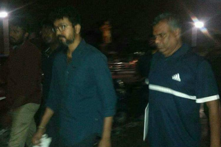 Actor Vijay joins protest at Marina anonymously hides face with a hanky