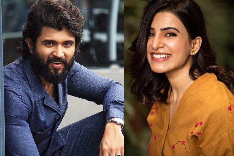 A collage of actors Vijay Deverakonda and Samantha