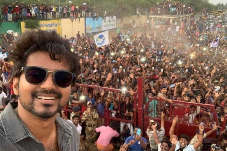 Vijays selfie from the sets of Master with hundreds of fans in background in Neyveli