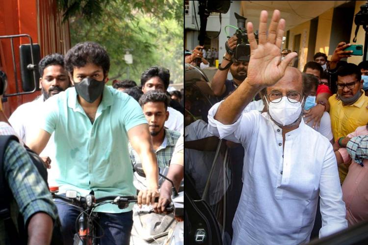 Actor Vijay arriving to the polling booth in a bicycle on the left and actor Rajinikanth waving at fans outside his polling booth at Stella Maris College on the right.