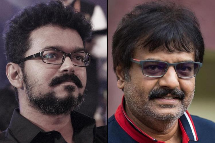 Actor Vijay is seen on the left and late actor Vivek on the right