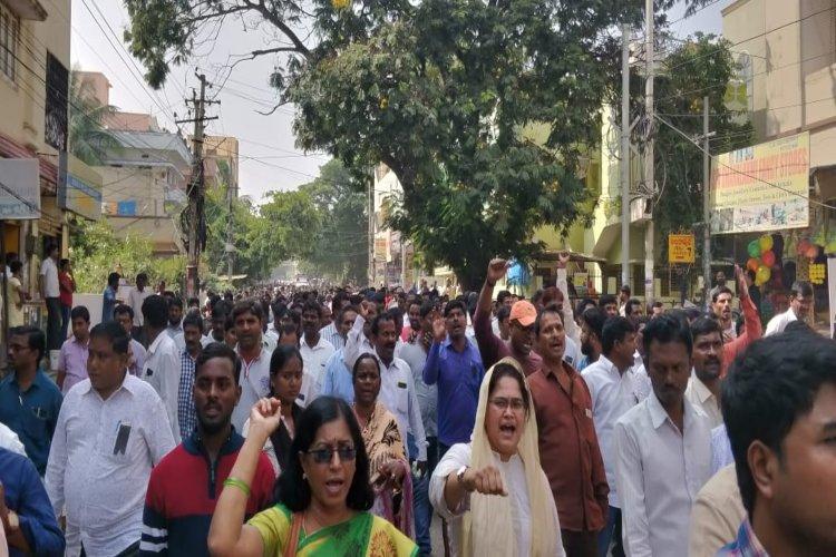 KCR demonized us Revenue employees protest after Telangana MROs murder