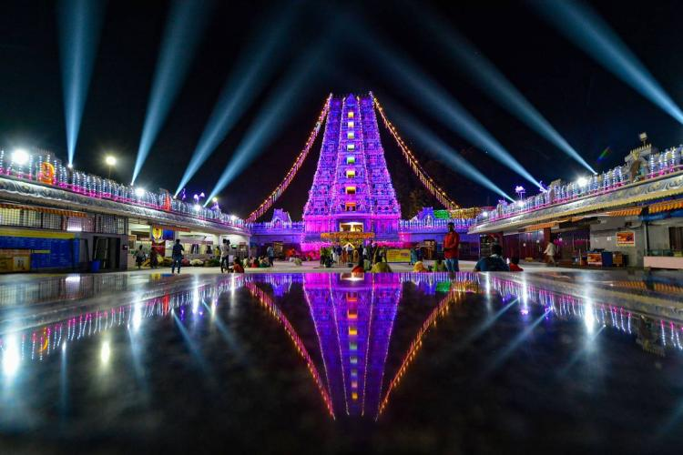Kanaka Durga temple in Vijayawada lit up for Dasara