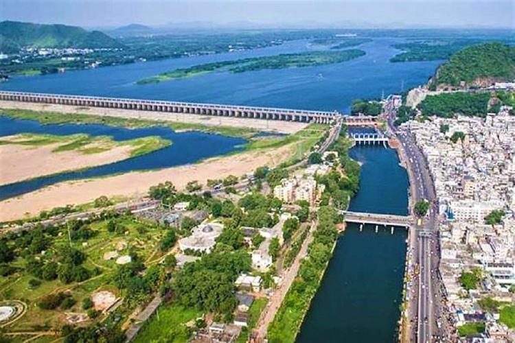 The Krishna river in Andhra Pradesh flowing next to Vijayawada