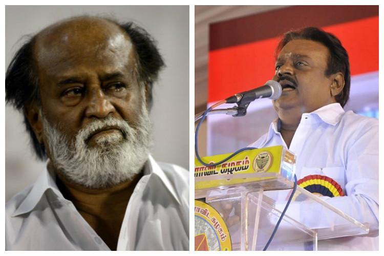 Superstar vs Captain Vijayakant berates Rajni in two rallies Rajni fans burn his effigy