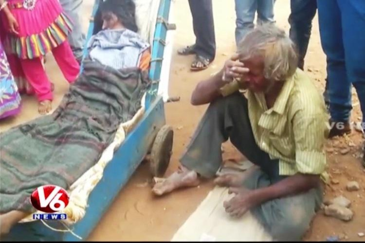 No money for ambulance Hyderabad beggar carries wifes corpse for 60 km in a pushcart