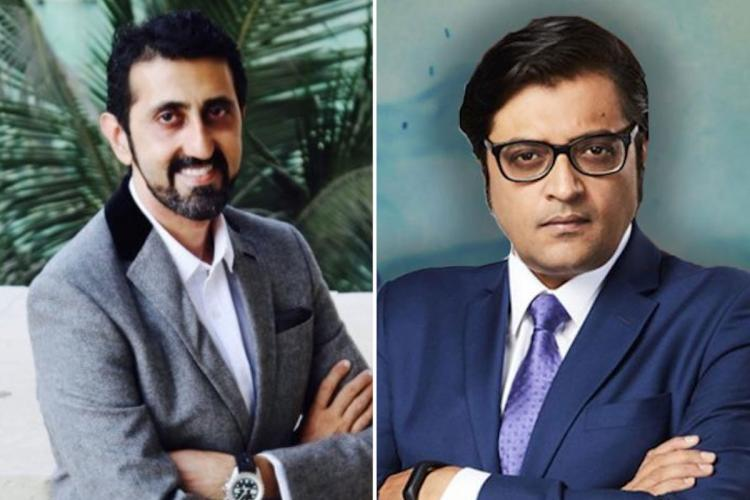 A collage of Vikas Khanchandani and Arnab Goswami of Republic Media Network