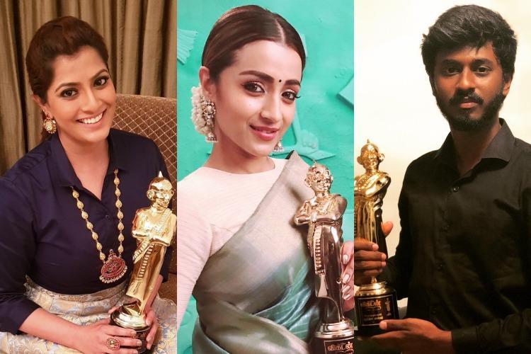 Director Mari Selvaraj actors Trisha and Dhanush win Vikatan Awards 2018 See full list