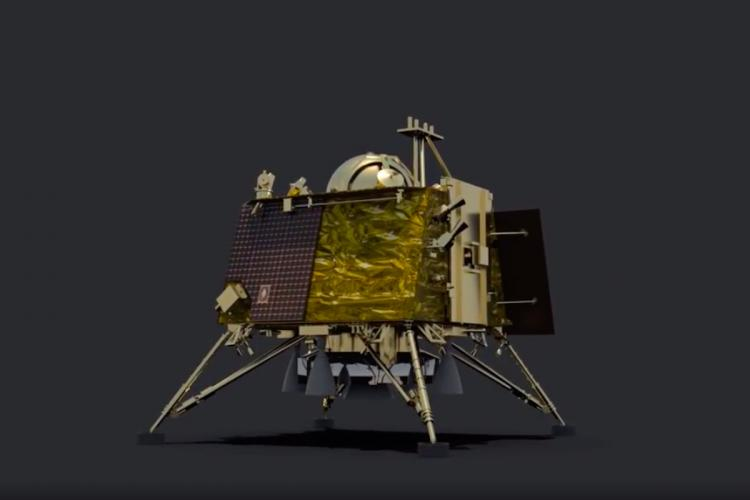 A model of the Vikram Lander of the Chandrayaan-2 mission of ISRO
