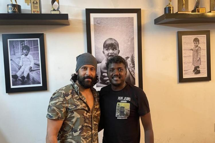 Chiyaan Vikram is seen on the left and director Mari Selvaraj on the right
