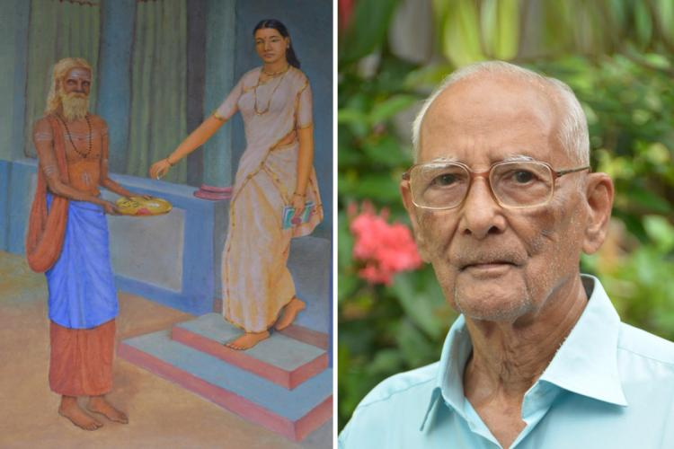 On the left is the painting of a village scene where a woman in white Sari is giving alms to a sage outside her house and on the right is the aged artist wearing a blue shirt and specs
