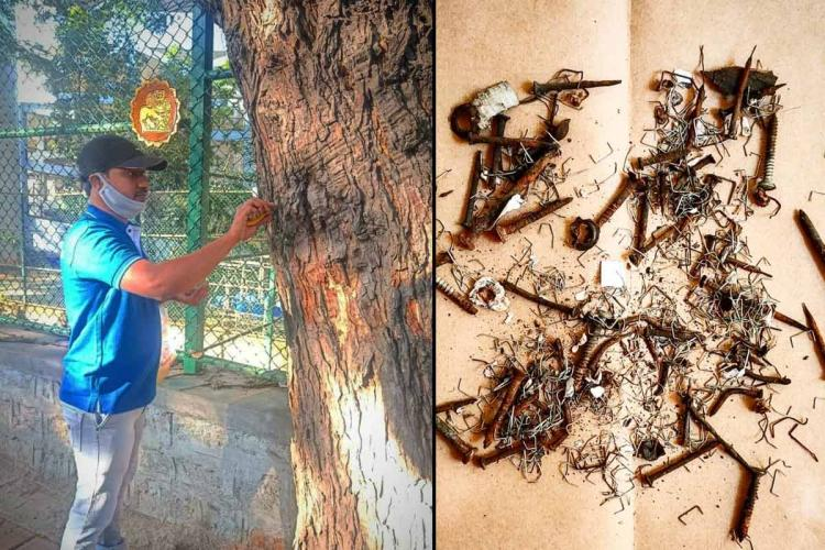 A collage of Bengaluru-based civic activist Vinod Kartavya and the collected nails and staples