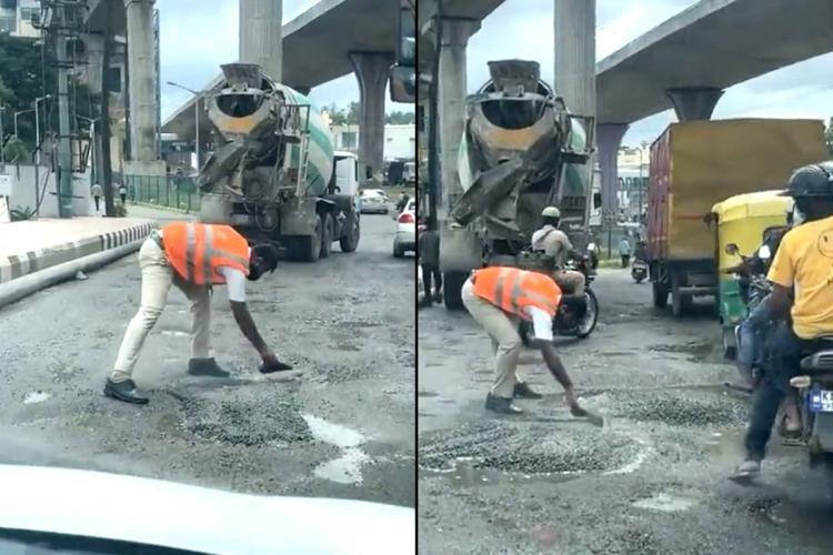 Bengaluru traffic police personnel filling pothole