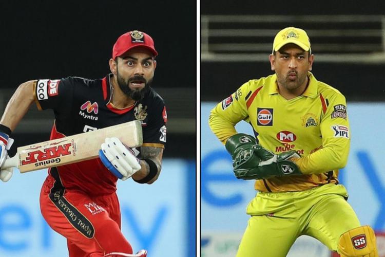 A collage of RCB captain Virat Kohli and CSK captain Mahendra Singh Dhoni