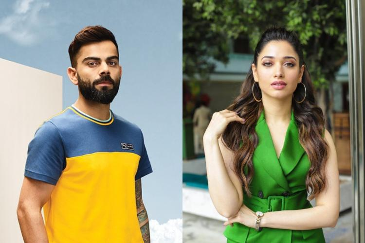 Collage of Virat Kohli in a yellow t shirt and Tamannaah in a green dress