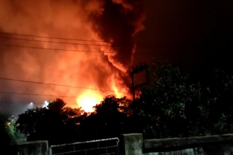 Fire engulfing following an explosion at a chemical unit