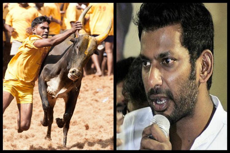 Activists protest against actor Vishals comment on SC order banning jallikattu