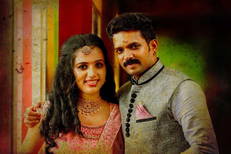 Domestic violence victim Vismaya and her husband Kiran in their wedding finery