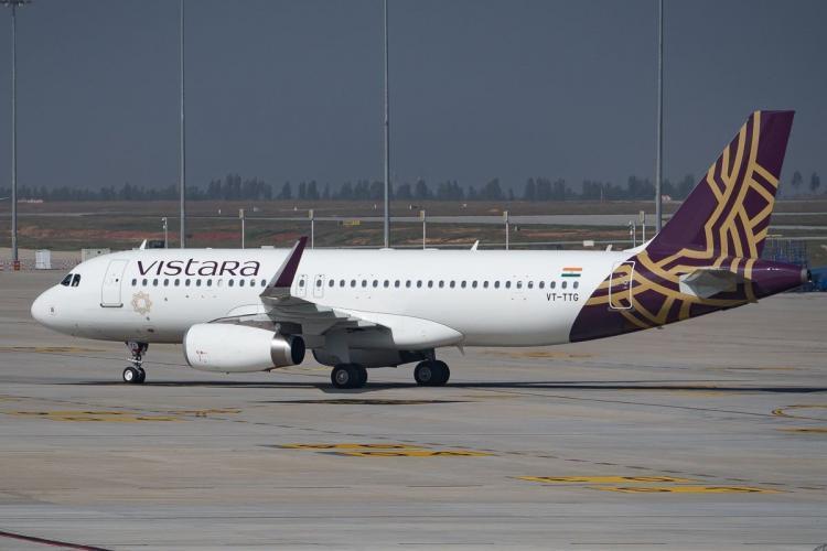A Vistara flight on runway ready for take off