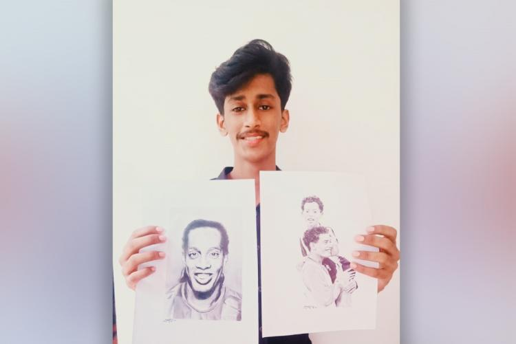 Kerala youth Vivek who is followed by footballer Ronaldinho on Insragram after he drew a sketch of the footballer