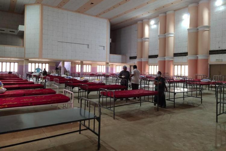 Covid care hospital being set up at a community hall in Vizag steel plant township