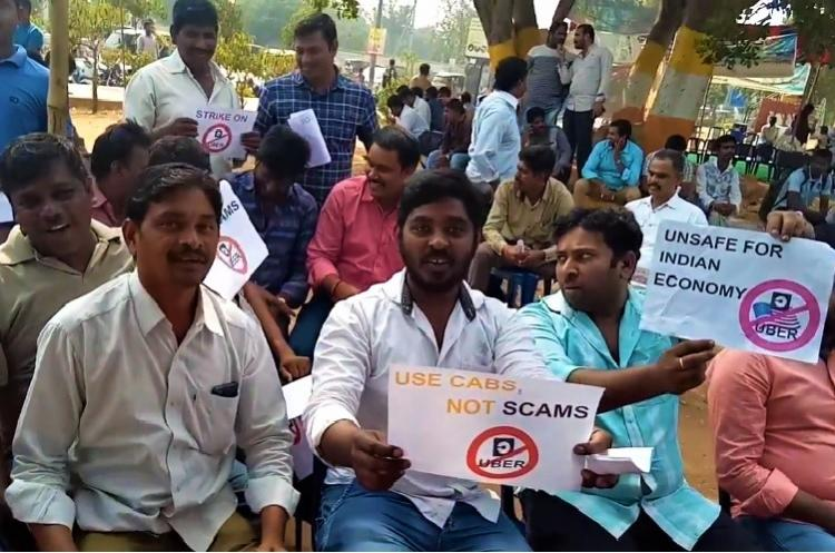 Uber drivers stage protest in Vizag demand hike in commission