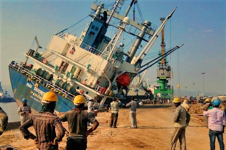 Watch Mishap at Vizag port in Andhra as massive ship tilts dangerously