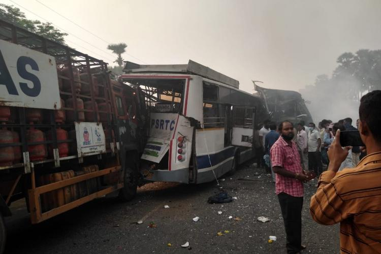 Visuals from Vizianagaram where two buses and a truck can be seen damaged after collision