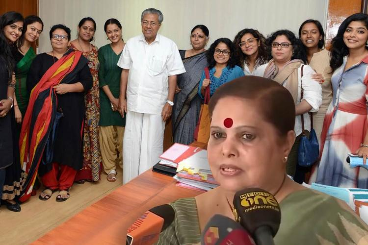 Pinarayi Vijayan poses with members of the WCC in Kerala and a picture of Justice Hema is in the collage