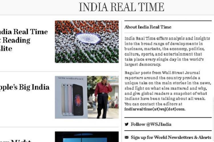 The Wall Street Journal shuts India Real Time blog