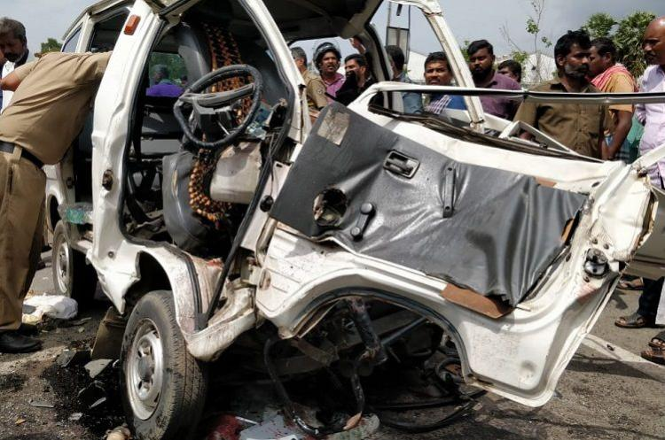 Five from a family killed as omni van rams into parked truck near Walayar