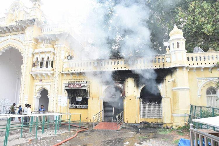 Part of Mysore Palace entrance gate up in flames