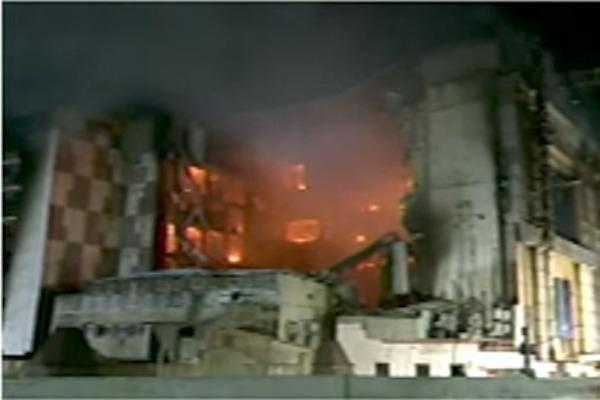 Chennai Silks building gives in after burning for 24 hours many portions collapse