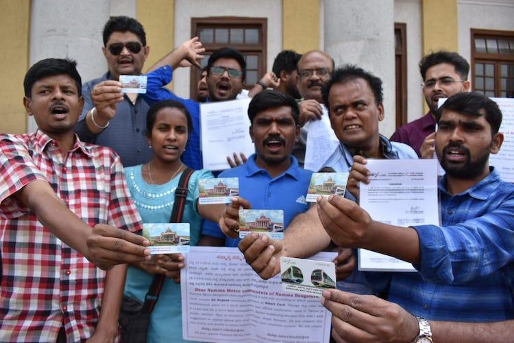 Scrap minimum balance rule Bengaluru activists protest Metro smart card hike