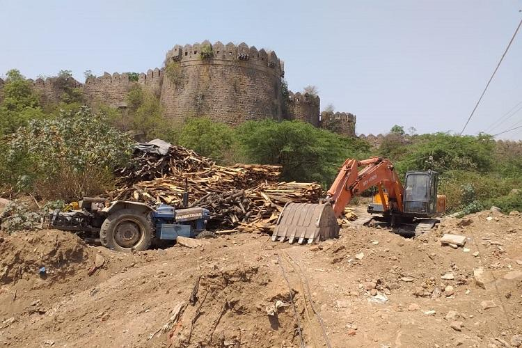 Golconda Forts moat being destroyed for construction of a drain Hyd activists allege