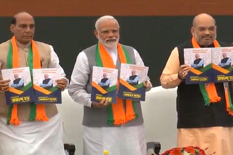 India's BJP releases manifesto ahead of upcoming elections