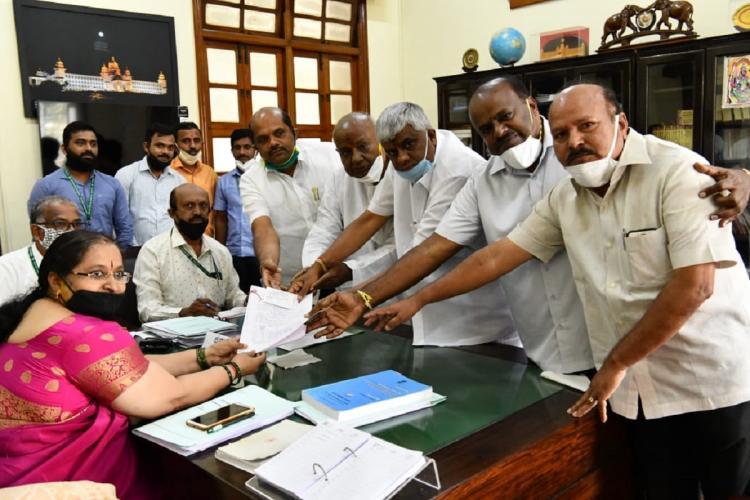 Former Prime Minister HD Deve Gowda files nomination for Rajya Sabha elections