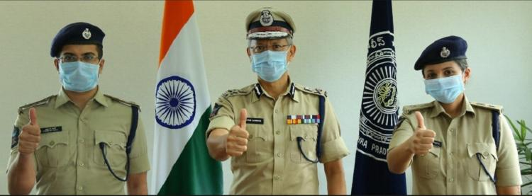 Andhra Pradesh DGP welcoming two IPS officers who recovered from COVID-19