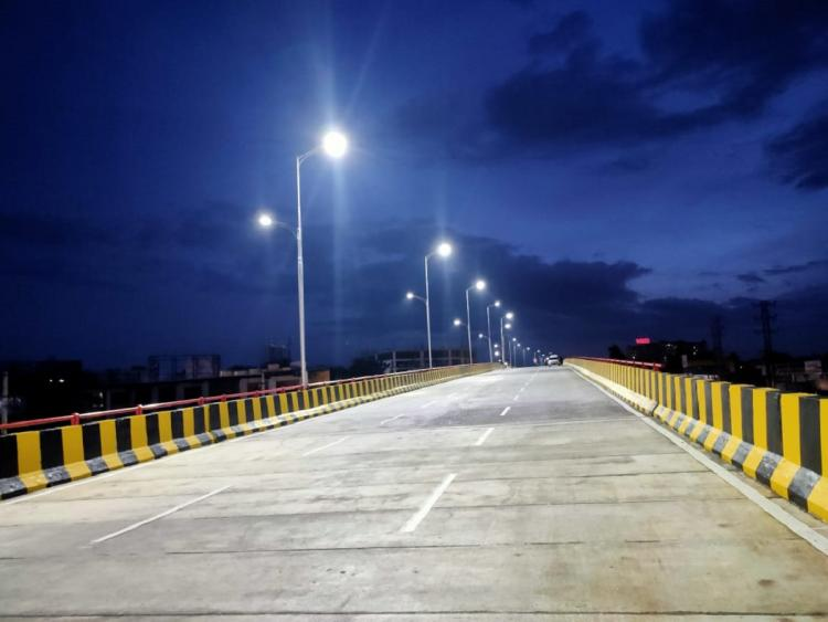 RHS flyover in Bairamalguda junction is seen lit over with LED lights before the day of inaguration
