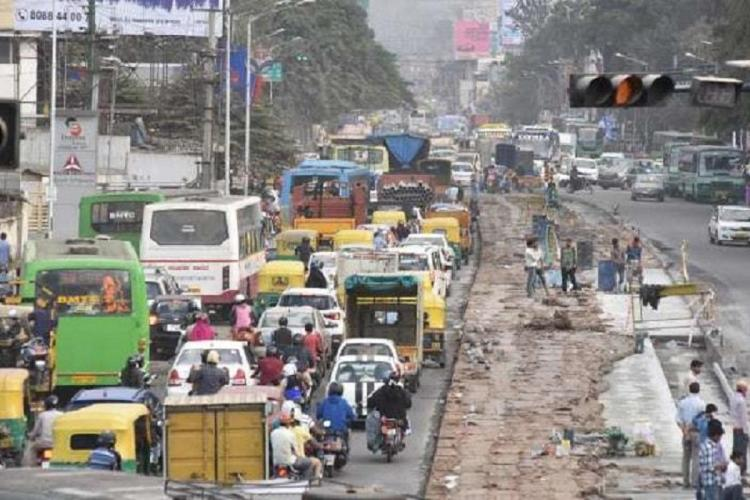 A busy road in Bengaluru piled with traffic