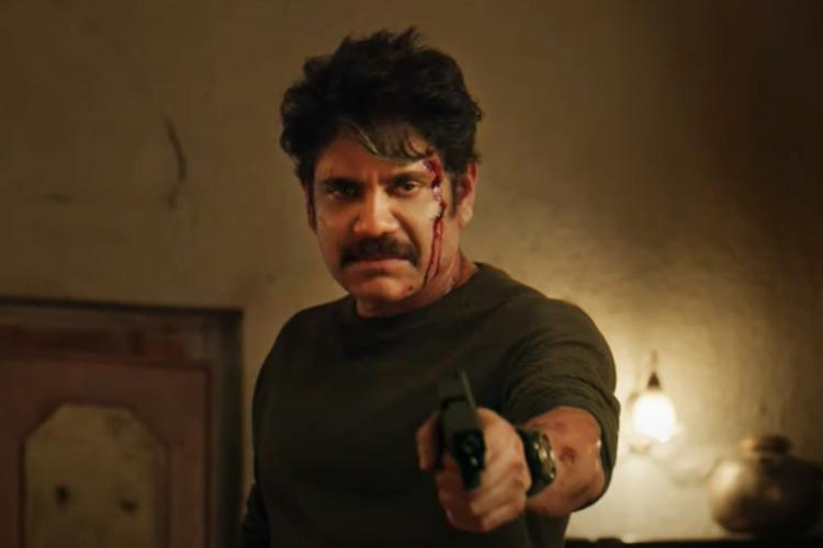Nagarjuna is seen holding a gun and bleeding He essays the role of an NIA officer